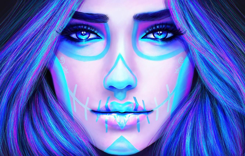 Фото обои девушка, лицо, волосы, красота, макияж, тату, арт, dia de los muertos, day of the dead, …