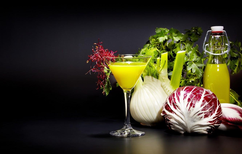 Фото обои зелень, сок, напиток, овощи