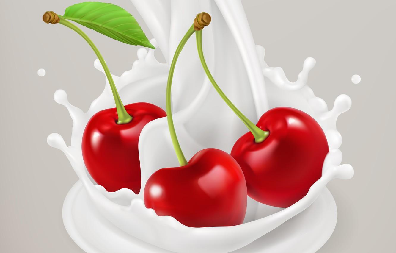 Фото обои вишня, фон, молоко, ягода