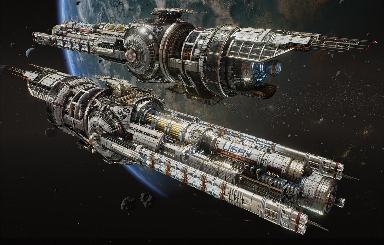 Фото обои космос, фантастика, корабль, планета, арт, hans palm, USR Guardian - Fractured Space