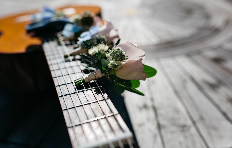Фото обои цветы, гитара, струны, гриф