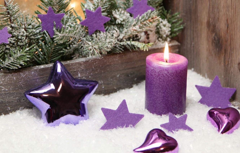 Фото обои фон, праздник, звезда, рождество, свеча, ель, Новый год, украшение
