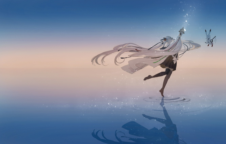 Фото обои вода, девушка, отражение, танец, аниме, арт, зайчик