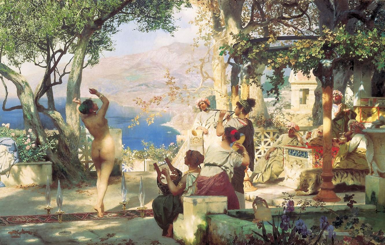Фото обои горы, озеро, масло, Холст, выступление, 1881, голая женщина, Генрих СЕМИРАДСКИЙ, Танец среди мечей