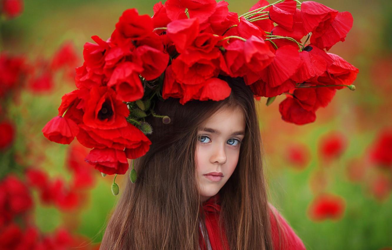Фото обои цветы, природа, маки, девочка, венок