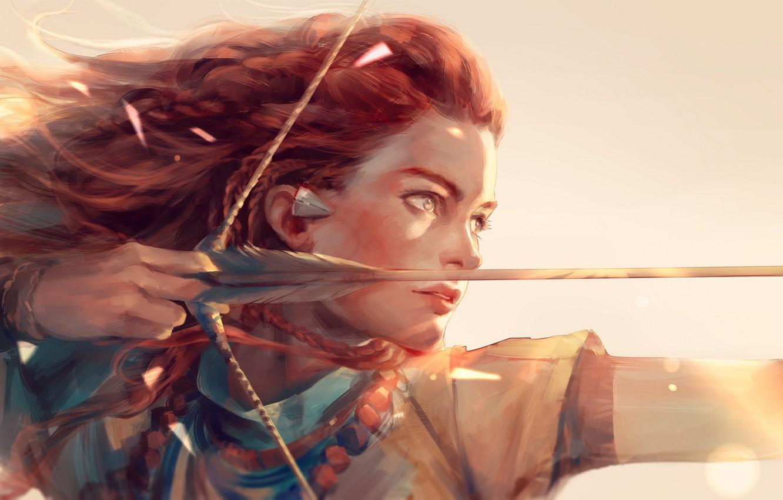 Фото обои девушка, свет, оружие, аниме, лук, арт, стрела, охотник, h@ge, aloy, horizon: zero dawn