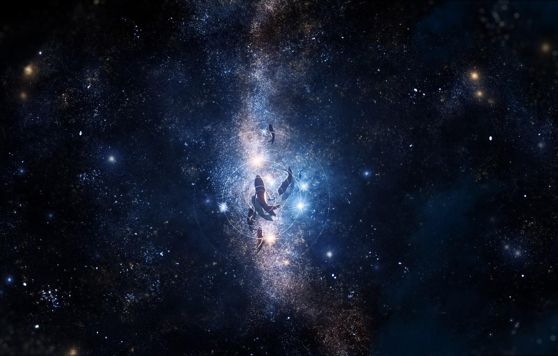 Фото обои звезды, рыбы, под водой, ночное небо, Y_Y