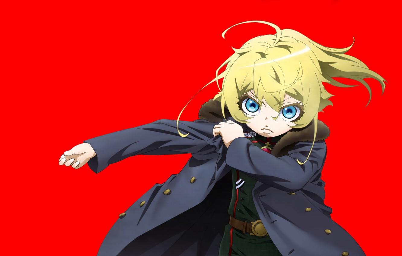 Фото обои girl, soldier, military, war, anime, chibi, blue eyes, blonde, asian, manga, oriental, asiatic, powerful, strong, …