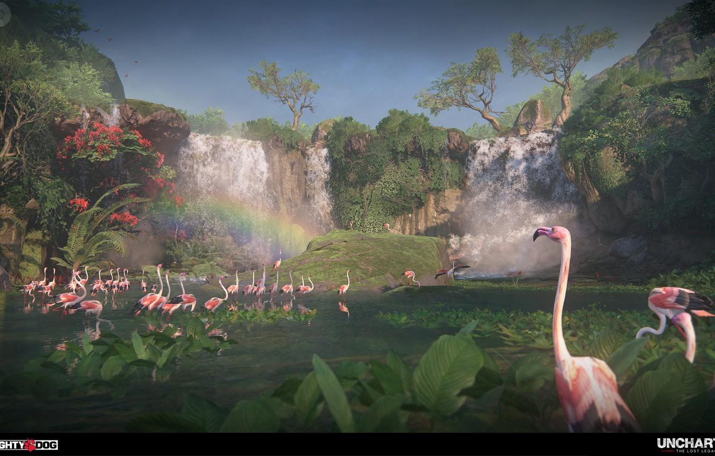 Фото обои растительность, водопад, фламинго, Uncharted The Lost Legacy, Intro to Western Ghats