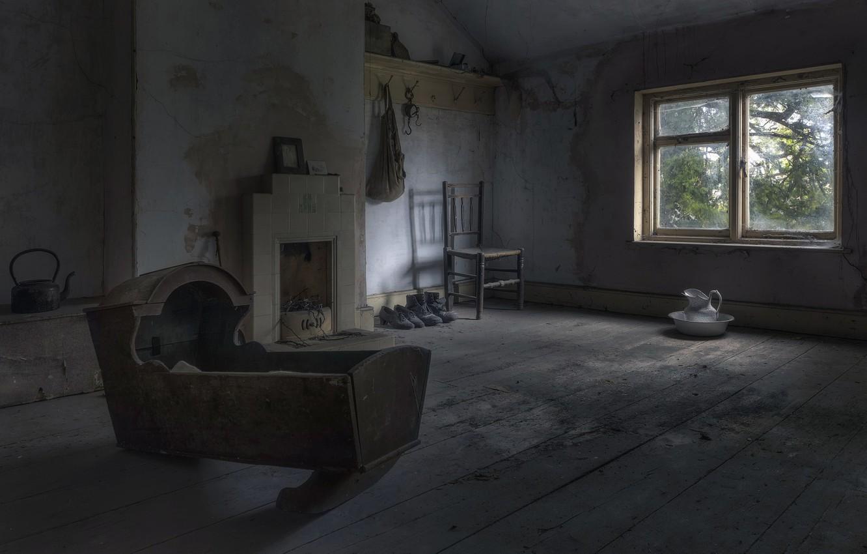 Фото обои комната, окно, колыбель