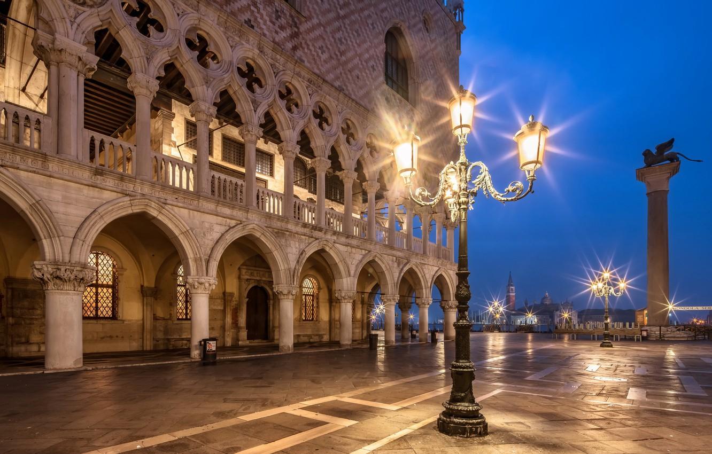 Обои дворец дожей, венеция, пьяцетта, Колонна Святого Марка. Города foto 9