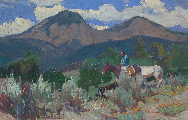 Фото обои горы, лошади, Oscar Edmund Berninghaus, рблака, Taos Mountain, Indian and