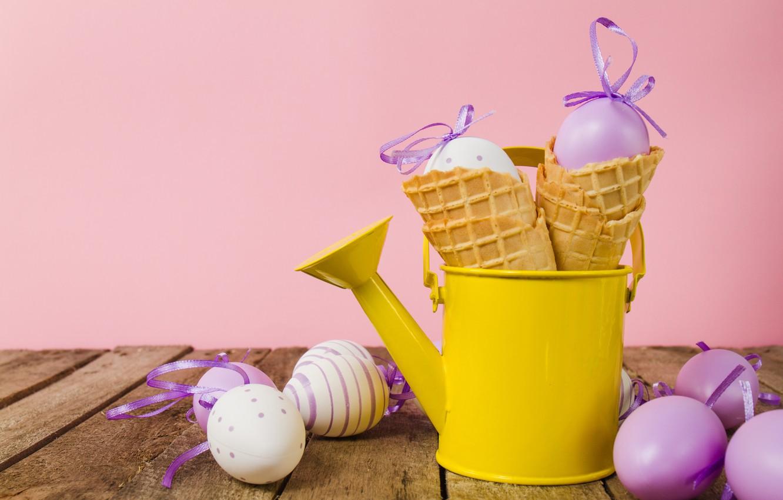 Фото обои яйца, весна, Пасха, рожок, spring, Easter, eggs, decoration, Happy, вафельный