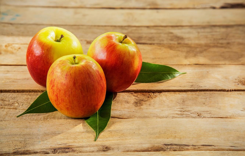 Фото обои листья, яблоки, фрукт, боке