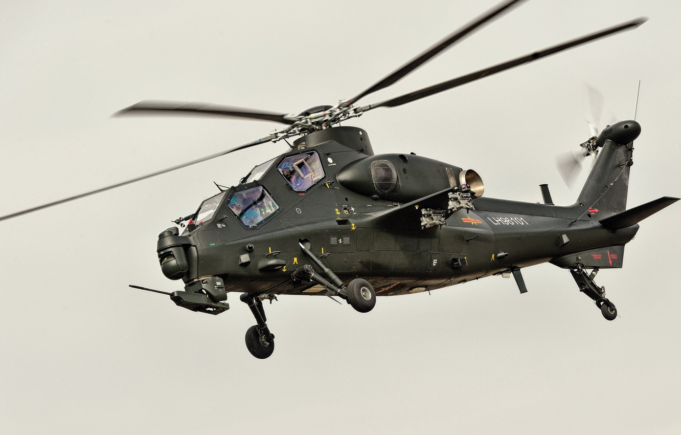 Фото обои red star, attack helicopter, China Air Force, CAIC Z-10, WZ-10