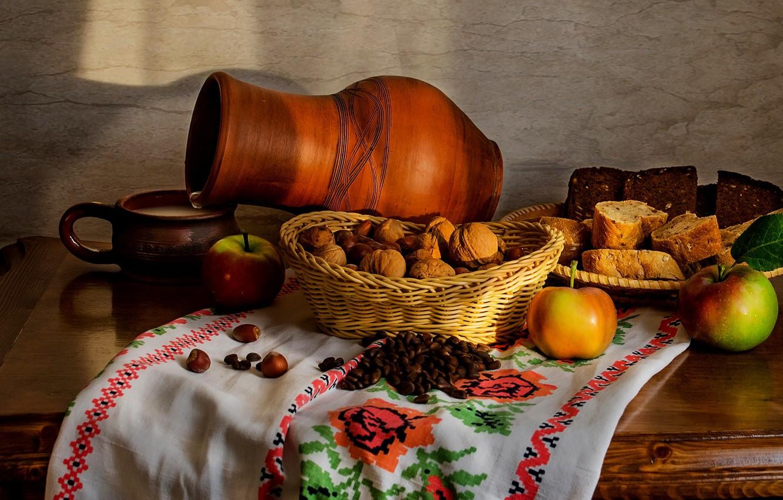 Фото обои яблоки, молоко, орехи, хлеб. кувшин