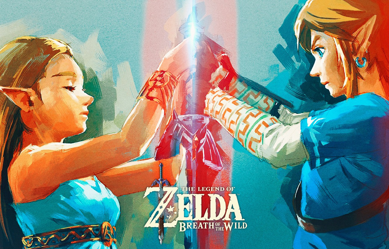 Фото обои art, Nintendo, The Legend of Zelda, Link, Princess Zelda, The Legend of Zelda: Breath of …