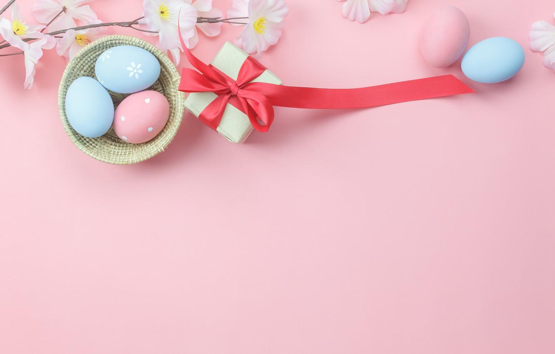 Фото обои цветы, фон, розовый, подарок, яйца, весна, Пасха, wood, pink, blossom, flowers, gift, spring, Easter, eggs, …