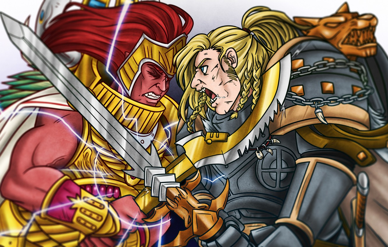 Фото обои Space Wolves, fight, battle, Warhammer 40 000, Leman Russ, primarch, Thousand Sons, Magnus Red