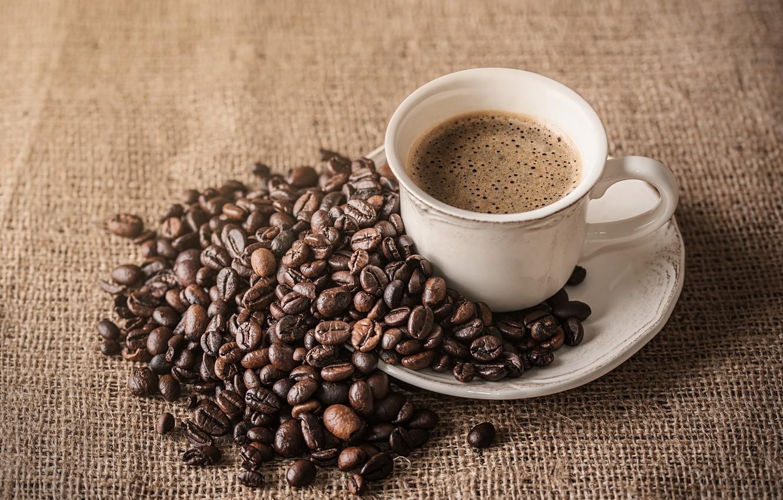 Фото обои кофе, зерна, чашка, hot, cup, beans, coffee