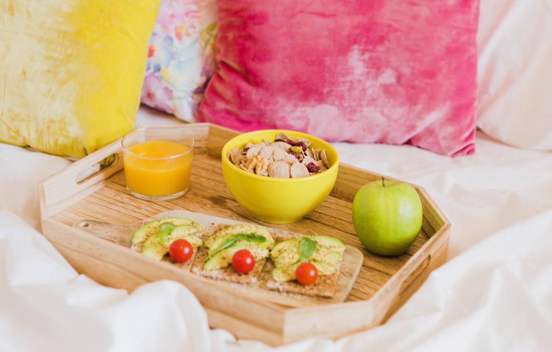 Фото обои завтрак, фрукты, хлопья, бутерброды