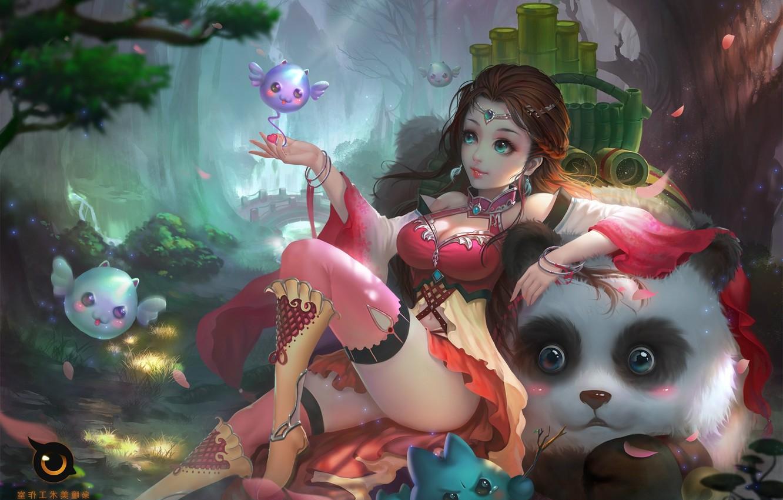 Фото обои игра, арт, панда, пет, Цзяншань