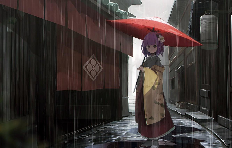 Фото обои girl, rain, dress, umbrella, anime, street, houses, Touhou, alley, kimono, purple hair, anime girl, Hieda …