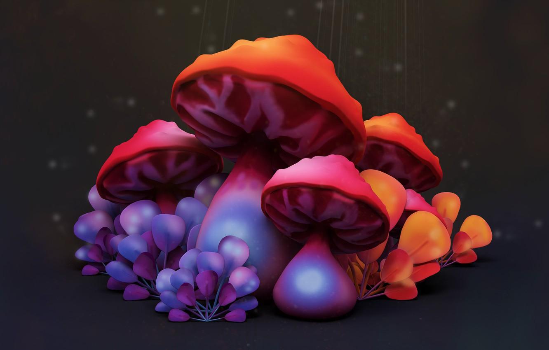 Фото обои мухомор, арт, детская, Mushrooms, Vitaliy Blik