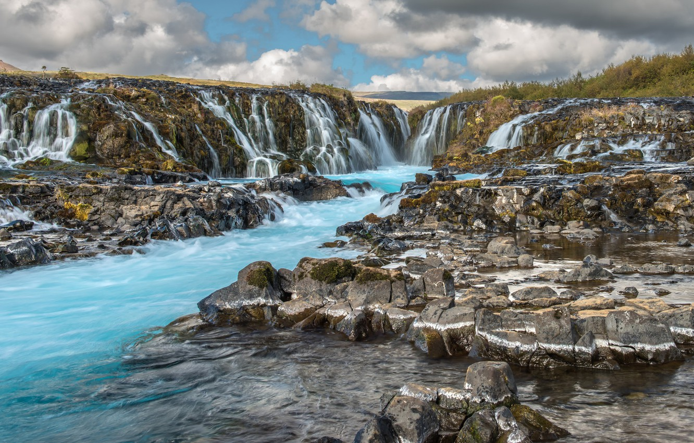 Фото обои вода, водопад, поток, Исландия, Iceland, Bruarfoss
