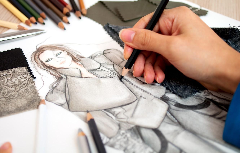 Фото обои рисунок, рука, карандаши, ткани