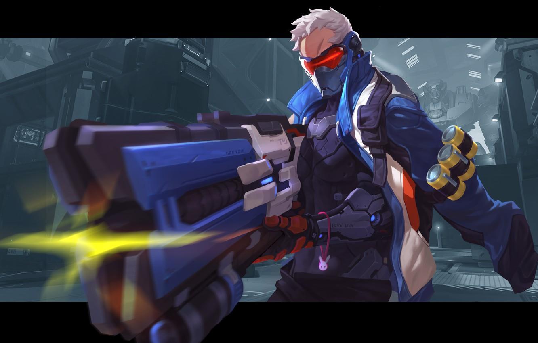 Фото обои art, Overwatch, soldier 76
