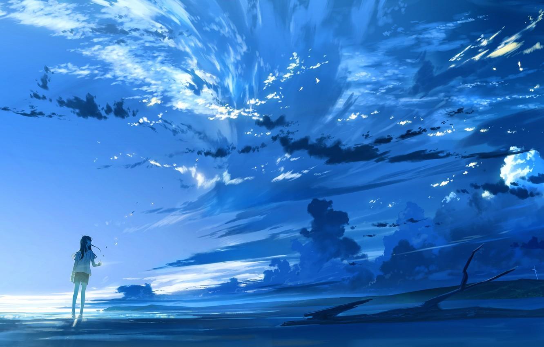 Фото обои небо, девушка, облака, закат, природа, аниме, арт, loundraw