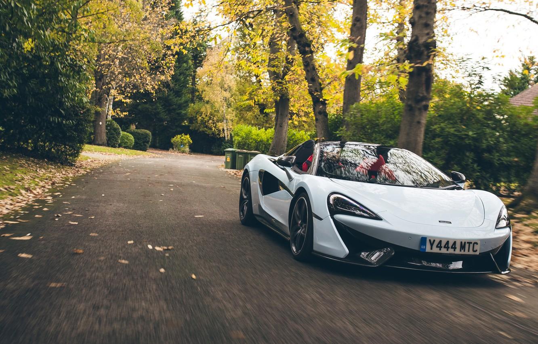 Фото обои McLaren, суперкар, Spider, 570S, Muriwai White