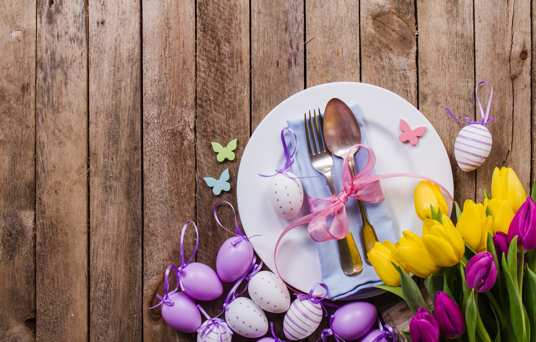 Фото обои цветы, яйца, весна, желтые, colorful, Пасха, тюльпаны, flowers, tulips, spring, Easter, purple, eggs, decoration, Happy