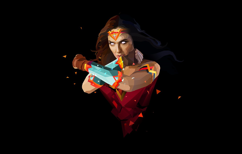 Фото обои fantasy, Wonder Woman, minimalism, comics, superhero, black background, fantasy art, DC Comics, Gal Gadot, simple …