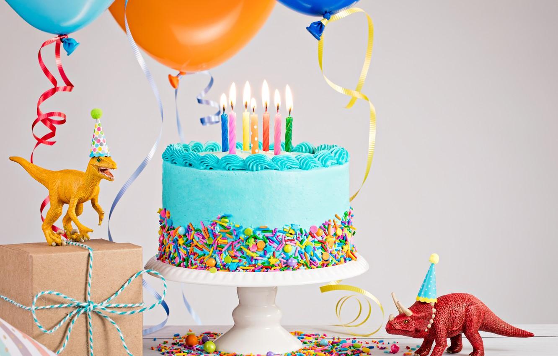 Фото обои свечи, Динозавр, Праздник, Торт, День рождение