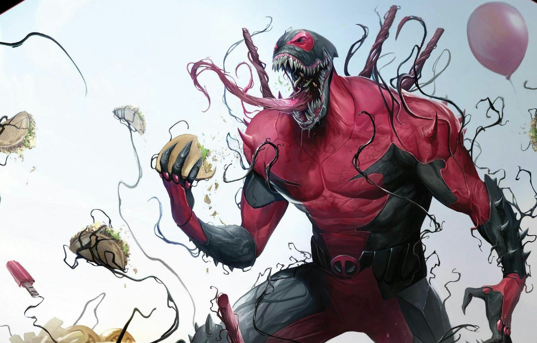 Фото обои Язык, Шары, Шарики, Зубы, Костюм, Комикс, Balls, Еда, Deadpool, Marvel, Дэдпул, Comics, Веном, Venom, Симбиот, …