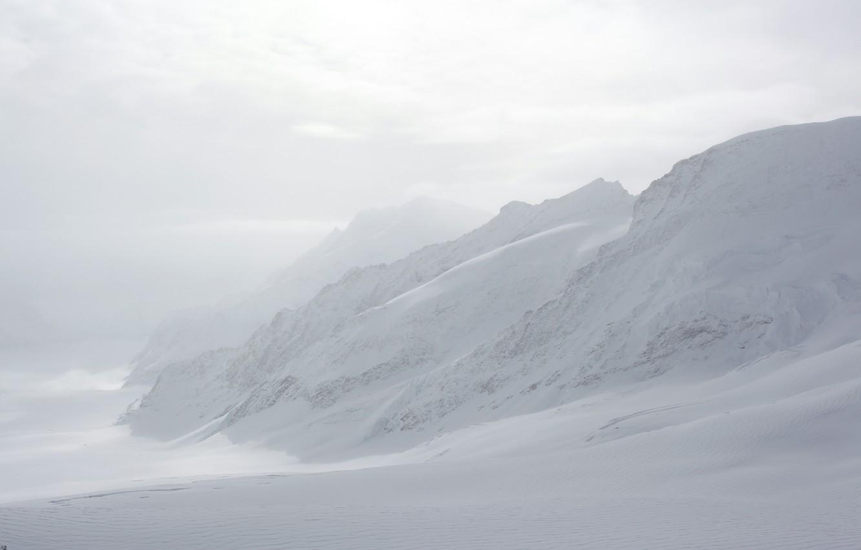 Фото обои Зима, Горы, Туман, Снег, Швейцария, Мороз, Winter, Frost, Snow, Mountains, Fog, Юнгфрау, Бернские Альпы