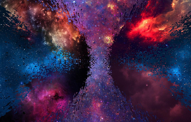 Фото обои космос, звезды, синий, желтый, туманность, красный, яркий, отражение, грязный, серый, розовый, голубой, черный, темный, светлый, …
