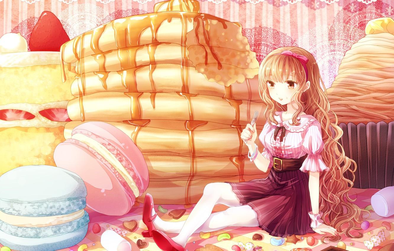Фото обои узор, девочка, сладости, блузка, вилка, бант, сидит, длинные волосы, на столе, сироп, оладьи, вкусняшки, красные …