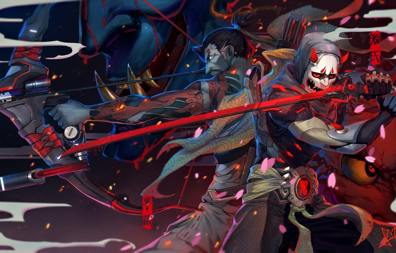Фото обои оружие, катана, лепестки, сакура, маска, лук, арт, парень, стрелы, overwatch, genji, squidsmith, hanzo