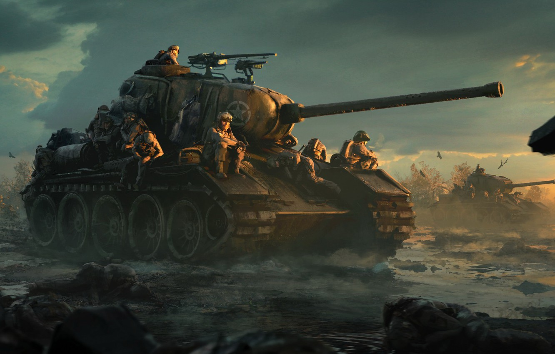 Фото обои поле, облака, закат, птицы, грязь, арт, солдаты, танки, американские