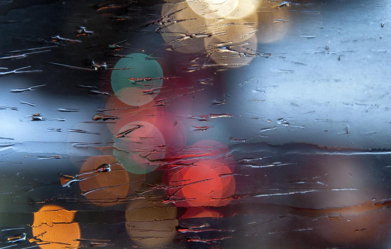 Фото обои мокро, стекло, макро, свет, боке