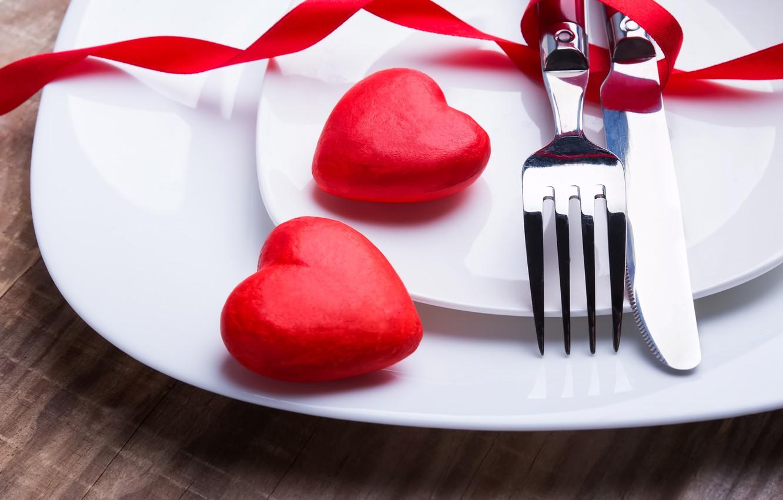 Фото обои нож, сердечки, red, вилка, romantic, hearts, Valentine's Day