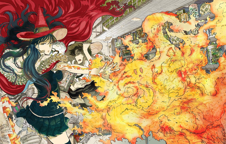 Фото обои девушка, огонь, аниме, арт, Witch Craft Works