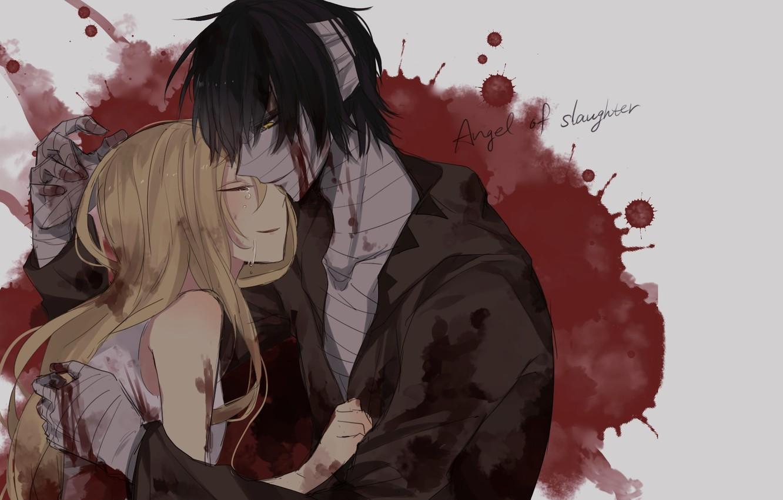 Фото обои девушка, романтика, кровь, арт, пара, парень, бинты, Ангел кровопролития, Satsuriku no Tenshi