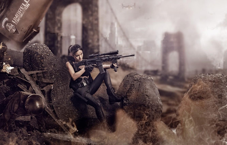 Фото обои девушка, оружие, руины