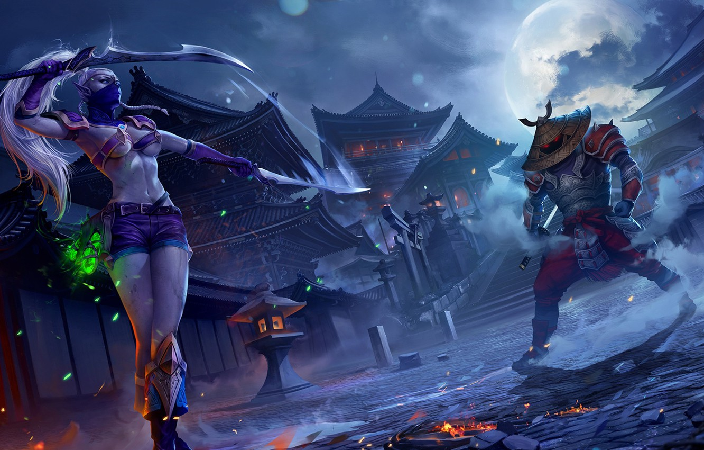 Фото обои девушка, ночь, луна, эльф, япония, меч, катана, воин, самурай, полнолуние, Juggernaut Wars
