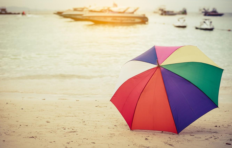 Фото обои песок, море, пляж, лето, счастье, отдых, зонт, colorful, rainbow, summer, happy, beach, sea, umbrella, sand, …