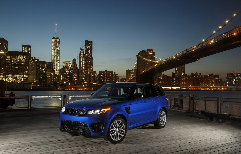 Фото обои City, Land Rover, Blue, Range Rover Sport, SVR